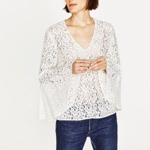 ZARA Bell Sleeve Floral Lace V Neck Top White L